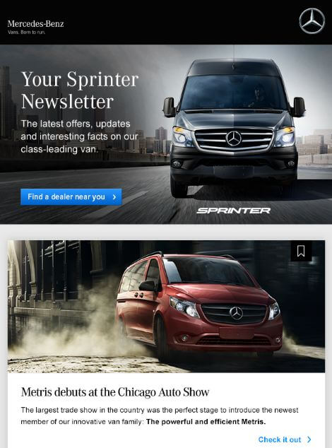 Mercedes Benz newsletter example
