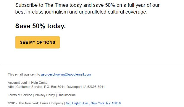 New York Times Unsubscribe