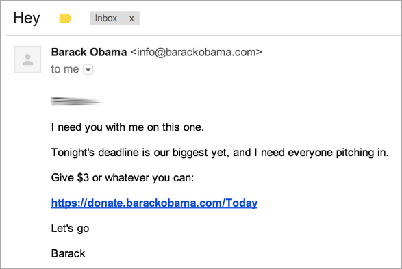 Barack Obama Personal message