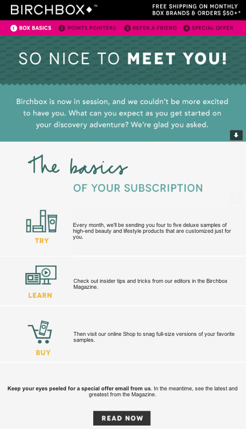 Birchbox subscription email