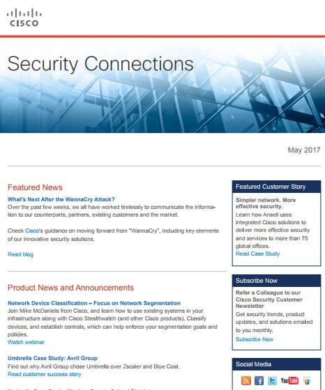 Cisco newsletter example