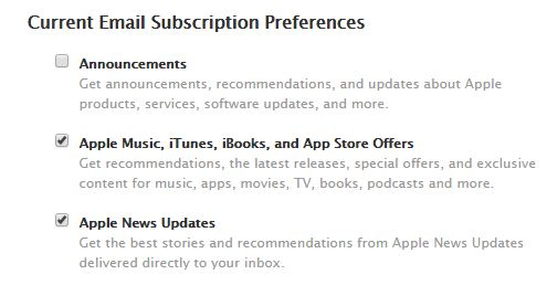 Apple Email subscriptions