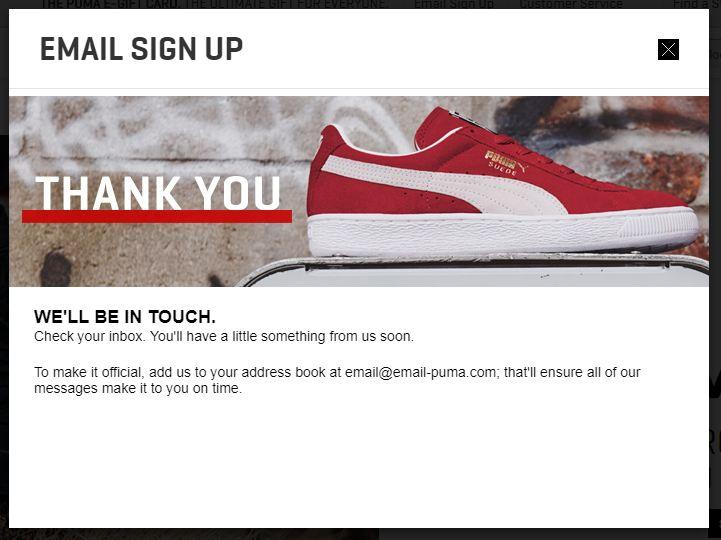 Puma email sign up pop up