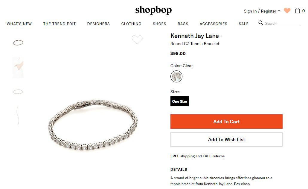 Shopbop product description
